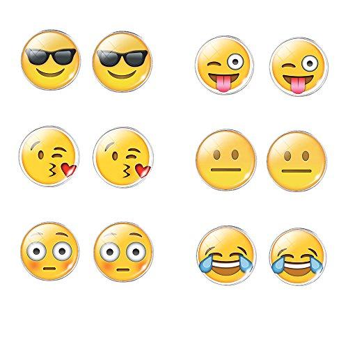 union-tesco-6-paare-3d-emoji-glas-damen-ohrstecker