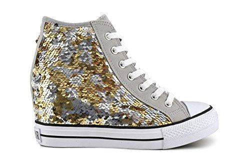 CAFÈ NOIR Sneaker donna running tipo all stars pailletes P/E 2017 cod. DG902 (39, Platino/Argento)