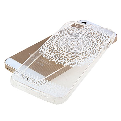 SainCat Coque Housse Apple iPhone 5/ 5s/ SE,Transparent Coque Silicone Etui Housse,iPhone SE Silicone Case Soft Gel Cover Anti-Scratch Transparent Case TPU Cover,Fonction Support Protection Complète M Dentelle Campanula