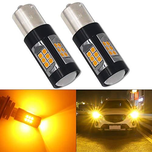 HSUN BA15S P21W 1156 Bombillas LED, sistema de Canbus con 30 chips SMD3030 extremadamente brillante para luz de giro LED de coche, 2 unidades, ámbar/naranja