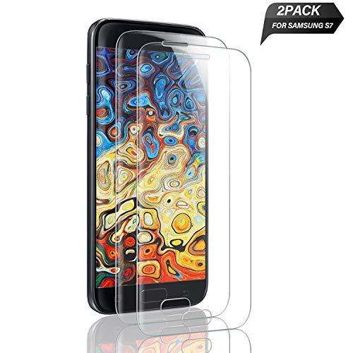 Aonsen Galaxy S7 Panzerglas Schutzfolie, [2 Stück] Premium 9H Härtegrad Full Cover Gehärtetem Glas Displayschutzfolie, Blasefrei, Ultra Klar Glatt, Anti-Kratzer, für Samsung Galaxy S7 - Transparent
