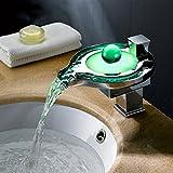 GAO® Rubinetto pieno rame seduto singolo manico singolo foro lavabo elettrico lavabo bagno LED luce calda e fredda rubinetto acqua cascata