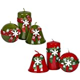 Completo juego de 6unidades. Velas de Navidad verde/rojo Navidad velas Nieve folcke