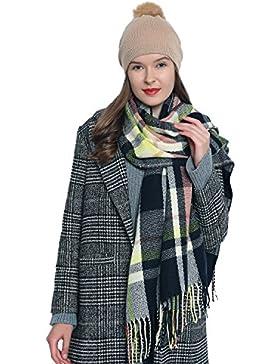 Bufanda de invierno a cuadros grande Oversize para mujers suave y cálida escocesa escocés 185 x 65 cm