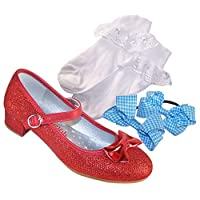 The Sparkle Club Girls red Low Heeled Party Shoes with Socks