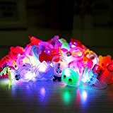 Flashing LED Light Up Bumpy Ring Toys For Kids And Adults Party Favors,Glow In The Dark Bumpy Rings Blinking Jelly Rubber Rings For Boys And Girls Finger Toy - 10pcs/Pack