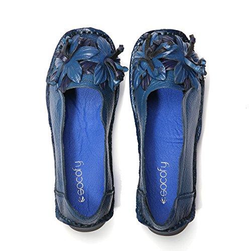 e6514ac3043 Loafters Gracosy Cuir Femme Mocassins Bleue grille Talon Printemps Ville À  Poiture En Enfiler Eté Voir Chaussures ...