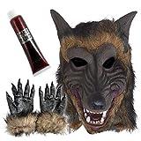 Mixed Hombre Lobo Terror Realista Látex Máscara de Lobo Halloween Fiesta Disfraces