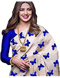 Glamory Saree Women's Silk Embroidered Saree With Blouse Piece (Blue_Free Size)