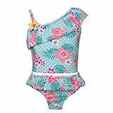 YiZYiF Mädchen Tankini Bikini Badeanzug Blumen Muster Top mit Slip Badeshorts Badekleidung Set Gr. 86-92 98-104 110-116 122-128 134-140 Hell Grün 98-104/3-4 Jahre