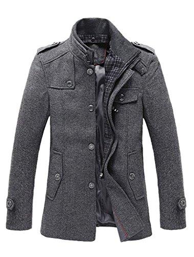 Vogstyle Herren Winter Mantel Jacke Klassischer Herrenmode Wollmäntel Wintermantel WärmeJacke Coat Style 1 Grau S