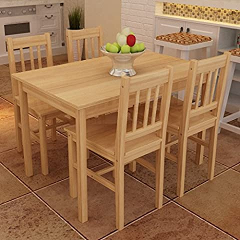 Anself Wooden Dining Table with 4 Chairs, Natural