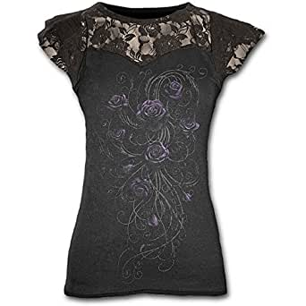 Spiral - Women - ENTWINED - Lace Layered Cap Sleeve Top Black - Small