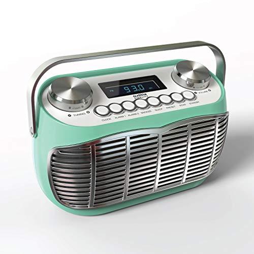 Detroit | Radio FM Vintage - Poste Radio Portable avec Reveil, Grand écran LCD, Prise Casque, Pile et Secteur - Vert