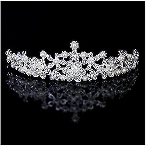Flor de la perla mujeres novia de la boda del Rhinestone de imitación Corona Tiara Diadema