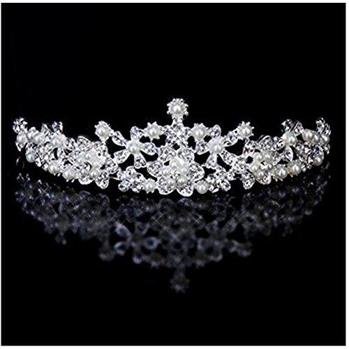 Binlunnu Frauen Hochzeit Braut Strass Faux Tiara Perlenblumenkrone Stirnband (Haar Accessoires Für Tanz Kostüme)