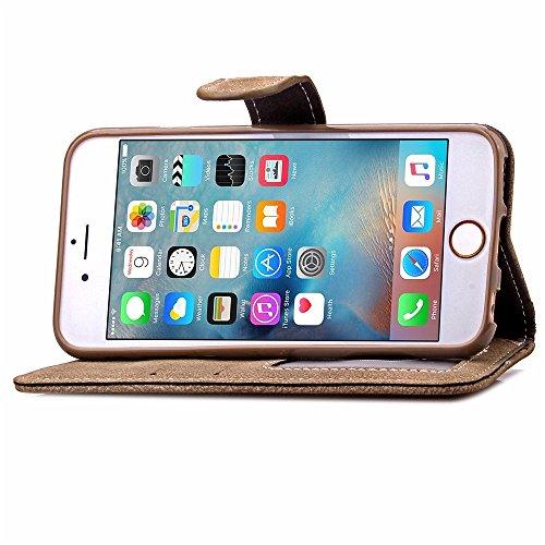 UKDANDANWEI Apple iPhone 6s PLUS Etui Coque, PU Cuir Housse Flip Case mit Faire pivoter cartes slots protection pour Apple iPhone 6s PLUS - Bleu brun clair