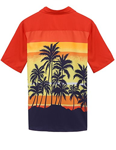Coofandy Chemise Homme Aloha Hawaïenne Manches Courtes Floral Casual Impression Style Orange