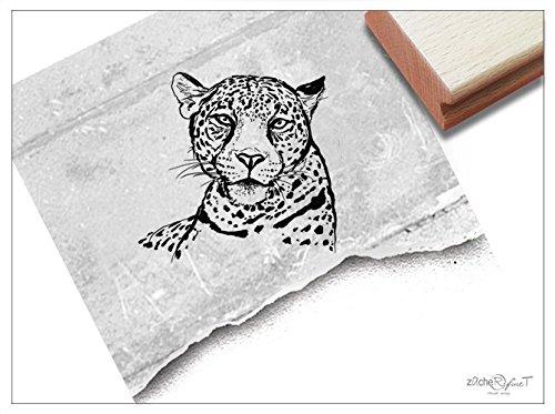 Stempel - Motivstempel Gepard Kopf, Klein - Zeichnung Bildstempel Tierstempel Schule Beruf, Karten Servietten Basteln Design Kunst Deko - zAcheR-fineT