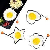 4 Sets Spiegelei Formen Edelstahl FormringsKitchen Cooking-Tool für Spiegelei, Biscuits, Kuchen, Meatloaf and Pfannkuchen Pancake Ringe Küche Gadget Werkzeug