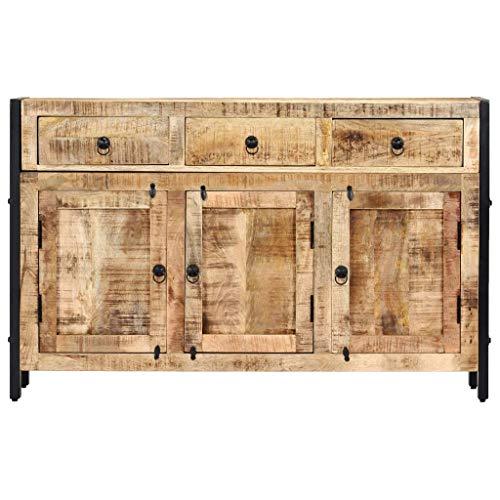 Tidyard Mangoholz Massiv Sideboard 3 Schubladen Handgefertigt Kommode Standschrank Mehrzweckschrank Beistellschrank Anrichte Schrank 120x35x76cm