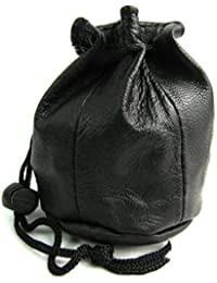 Unisex New Small Drawstring Soft Real Leather Wrist Purse Pouch Wallet Money Bag