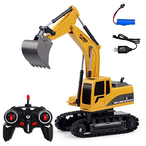 Seciie 6-CH RC Bagger, 1:24 Ferngesteuerter Kettenbagger mit Greifarm Schaufelbagger Baustellenfahrzeuge Ferngesteuert Spielzeug für Jungs