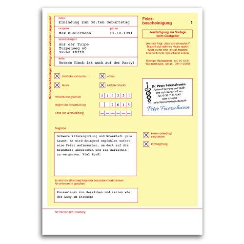 (30 x) Einladungskarten Geburtstag Krankschreibung Krankmeldung Einladungen