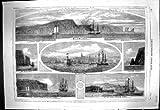 Impresión Antigua del Bote salvavidas Partido del Barómetro del Cabo de Blomidon de la Isla de la Perdiz de Styx St. John de 1860 Naves