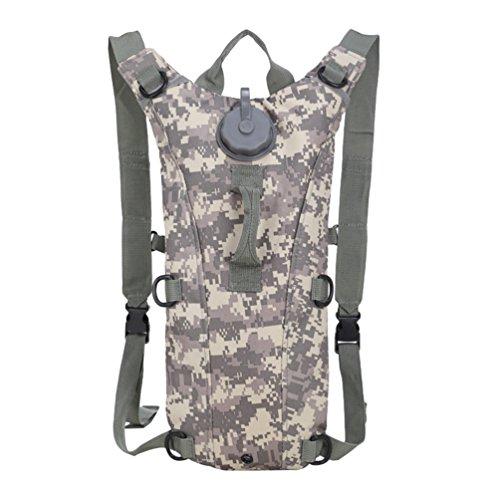 Dexinx Trinkrucksack mit 3L Trinkblase für Abenteuer Camping Bergsteigen Hydrationspack Fahrradrucksack Camouflage5 17 * 4 * 44cm
