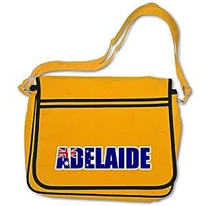 plot4u Freizeittasche Adelaide Schriftzug Schultasche Australien Australia Bag Base® BagBase Retro Messenger 40x30x10cm goldgelb/farbiger Aufdruck
