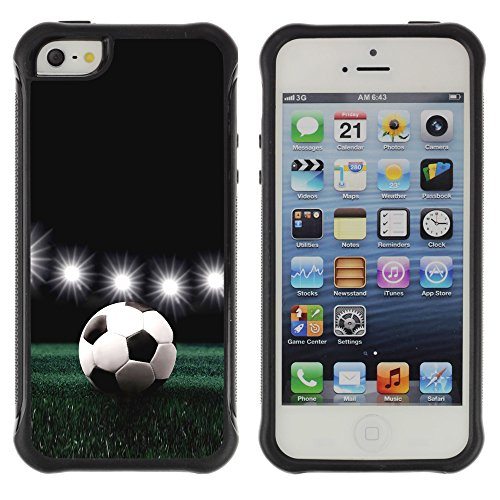 Graphic4You Fußball Football Sport Thema Design Shockproof Anti-Rutsch Weichen Hülle Case Tasche Schutzhülle für Apple iPhone SE / 5 / 5S Design #1