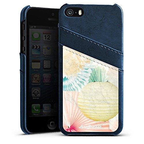 Apple iPhone 5 Housse étui coque protection Lena Hoschek Spring Summer Fashion Papier Étui en cuir bleu marine