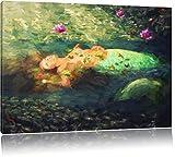 Schöne Meerjungfrau im Wasser liegend Pinsel Effekt, Format: 80x60 auf Leinwand, XXL riesige Bilder fertig gerahmt mit Keilrahmen, Kunstdruck auf Wandbild mit Rahmen, günstiger als Gemälde oder Ölbild, kein Poster oder Plakat