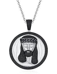"Silvernshine Men's 1.40 Ct Round Black Jesus Face Pendant 18"" Chain In 14K White Gold Fn"