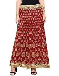 DAMEN MODE Women Heavy Golden Embroidery Printed Jaipuri Maroon Rayon Skirt