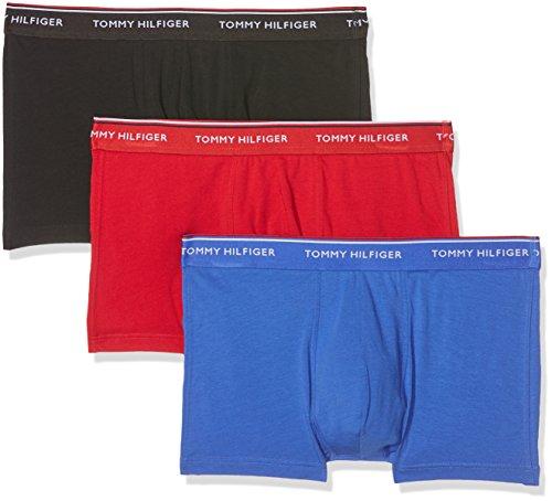 Tommy Hilfiger Herren Shorts 3p Trunk, 3er Pack Blau (Tango Red/Dazzling Blue/Black 901)