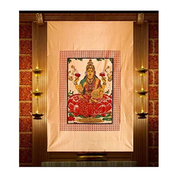 IXORA Goddess Lakshmi Printed Polyester Door Curtain/Temple Curtain/Tapestry (6 x 4 ft, Golden)