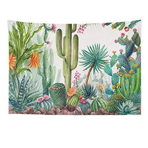 Lihan Tapicería Tapiz Indian Elefante Hippie Mandala de Pared Estampado Floral Decoración Naturaleza Hogar para Grande Picnic Mantel diseño psicodélico, Cactus 150 * 100cm/59 * 40inch
