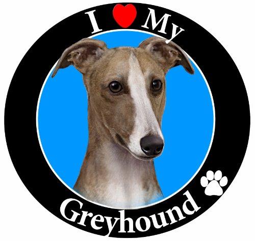 E&S Pets I Love My Greyhound Auto Magnet mit Realistisch Windhund Foto in der Mitte in UV Gloss für Wetter und verblassen Schutz Kreis Shaped Magnet Maßnahmen 13,3cm Durchmesser -
