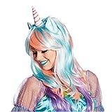 Krause & Sohn Perücke Einhorn Rosa/Blau Karneval Langhaarperücke Magic Unicorn Märchen