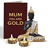 TiedRibbons Mothers Day Special Gifts For Mom Sitting Buddha Statue With Tea Light Candle Holders And Mothers Day Special Greeting Card