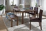 SAM 6tlg Tischgruppe,140 cm, nussbaumfarbig Antik-Look, Sitzgruppe bestehend aus 1 x Esstisch, 4 x Polsterstuhl, 1 x Sitzbank 521027