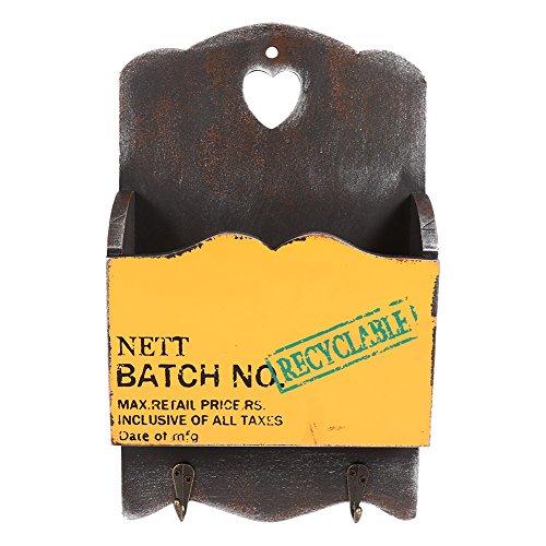 Vintage cassetta postale/ mailbox di legno a parete, scatola d'immagazzinaggio con piloni portachiavi per corridoio portone cestello portaoggetti ( colore : giallo )