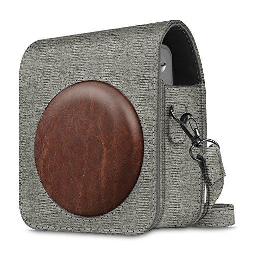 Fintie Tasche für Fujifilm Instax Mini 90 Neo Classic Sofortbildkamera - Premium Kunstleder Schutzhülle Reise Kameratasche Hülle Abdeckung mit Abnehmbaren Riemen, Denim grau
