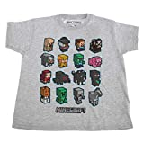 Minecraft - Camiseta con Personajes para niños y niñas (7-8 Años/Gris Moteado)