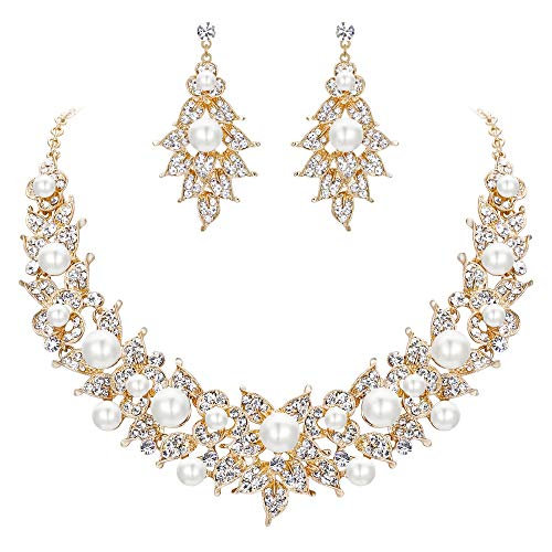 muckset Österreichischen Kristall Simulierte Perle Mode Hochzeit Braut Blume Kostüm Statement Schmuck Set Elfenbein-Weiß Gold-Ton ()