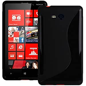Solid Black S Curve XYLO-GEL Skin / Case / Cover for the Nokia Lumia 820 Mobile Phone.