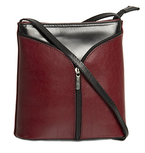 Big Handbag Shop Borsetta piccola a tracolla, vera pelle italiana Deep Red & Black