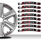 8 Stück Vinyl Felgenrandaufkleber Punisher Schädel Rim Stickers Autoaufkleber Auto Moto Motorrad Fahrrad Tuning RV 36